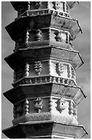 Detail of one of the two 10-tiered pagodas flanking Quianxun Pagoda. Dali, Yunnan, China (black and white)