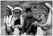 Women wearing traditional Bai dress. Dali, Yunnan, China ( black and white)
