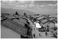Fuxing Lu seen from the South Gate. Dali, Yunnan, China (black and white)