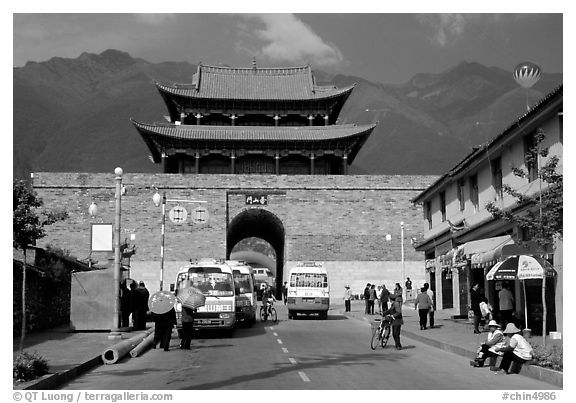 West gate with Cang Shan mountains in the background. Dali, Yunnan, China (black and white)