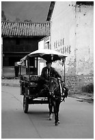 House carriage in a street. Dali, Yunnan, China (black and white)