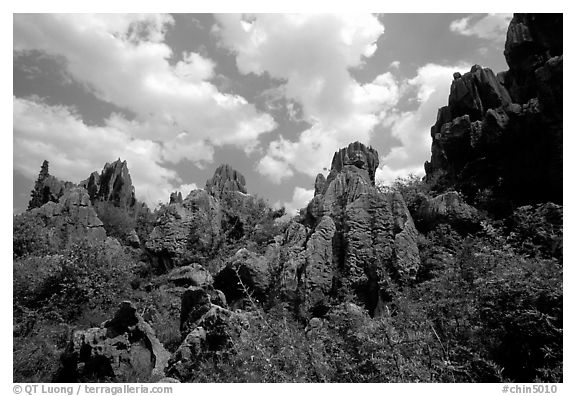 Among the limestone peaks of the Stone Forest. Shilin, Yunnan, China (black and white)