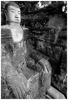 Da Fo (Grand Buddha) seen from Fuyu in Dafo Si. Leshan, Sichuan, China (black and white)