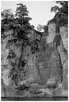 Da Fo (Grand Buddha) seen from the river. Leshan, Sichuan, China (black and white)