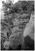 Da Fo (Grand Buddha) with staircase in cliffside and river in the background. Leshan, Sichuan, China (black and white)