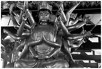 Statue of Avalokiteshvara, the Bodhisattva of Mercy inside Luohan Hall. Leshan, Sichuan, China (black and white)