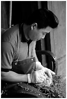 Craftman. Leshan, Sichuan, China (black and white)