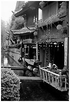 Restaurant across the canal. Lijiang, Yunnan, China ( black and white)