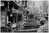 Bridges leading to restaurants and residences across the canal. Lijiang, Yunnan, China (black and white)
