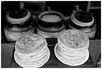 Naxi baba flatbread. Lijiang, Yunnan, China ( black and white)
