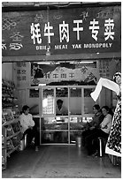 Store selling Yak meat. Lijiang, Yunnan, China ( black and white)