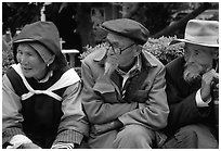 Elder Naxi people. Lijiang, Yunnan, China (black and white)