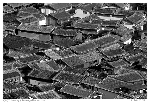 Old town Rooftops seen from Wangu tower. Lijiang, Yunnan, China (black and white)