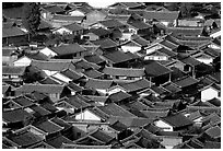 Old town Rooftops seen from Wangu tower. Lijiang, Yunnan, China ( black and white)