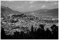 Old town, new town, and surrounding fields seen from Wangu tower. Lijiang, Yunnan, China ( black and white)