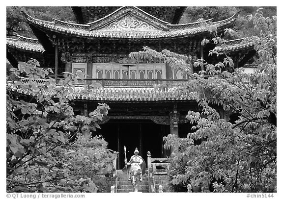 Ming dynasty Wufeng Lou (Five Phoenix Hall), a 20m high edifice dating from 1600. Lijiang, Yunnan, China (black and white)