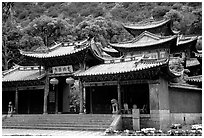 Ming dynasty Wufeng Lou (Five Phoenix Hall). Lijiang, Yunnan, China ( black and white)