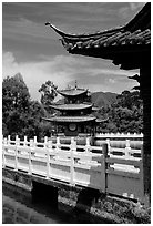 Pavillons in Black Dragon Pool Park. Lijiang, Yunnan, China ( black and white)