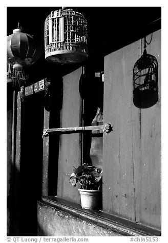 House facade. Lijiang, Yunnan, China (black and white)