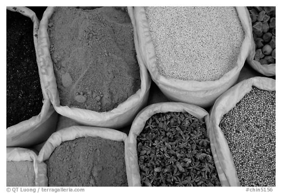 Spices for sale at the market.  (black and white)
