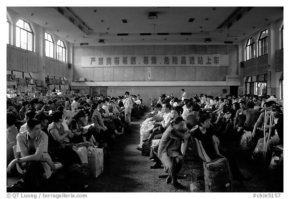 Waiting at the Panzhihua (Jingjiang) train station.  (black and white)