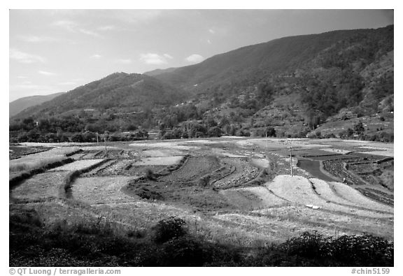Fields on the road between Lijiang and Panzhihua.  (black and white)