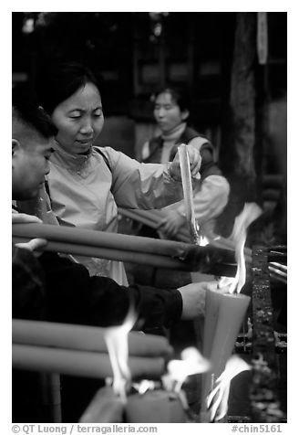Burning incense batons at Wannian Si. Emei Shan, Sichuan, China (black and white)
