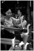 Burning incense batons at Wannian Si. Emei Shan, Sichuan, China ( black and white)
