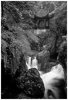 Waterfall beneath Qingyin pavillon. Emei Shan, Sichuan, China ( black and white)