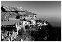 Jinding Si temple in the morning. Emei Shan, Sichuan, China (black and white)