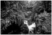 Waterfall beneath Qingyin pavillon. Emei Shan, Sichuan, China (black and white)