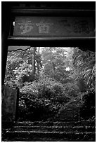 Archway gate over the staircase between Qingyin and Hongchunping. Emei Shan, Sichuan, China (black and white)