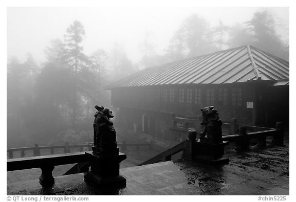 Xiangfeng temple in mist. Emei Shan, Sichuan, China (black and white)