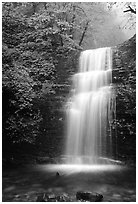 Waterfall between Xiangfeng and Yuxian. Emei Shan, Sichuan, China (black and white)