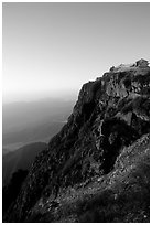 Sunrise on Jinding Si (Golden Summit), perched on a steep cliff. Emei Shan, Sichuan, China (black and white)