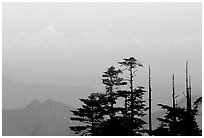 Daxue Shan range seen in the distance. Emei Shan, Sichuan, China (black and white)