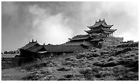 Jinding Si temple, mid-morning. Emei Shan, Sichuan, China (black and white)