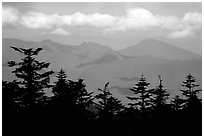 Distant mountains, seen from Jinding Si, morning. Emei Shan, Sichuan, China (black and white)