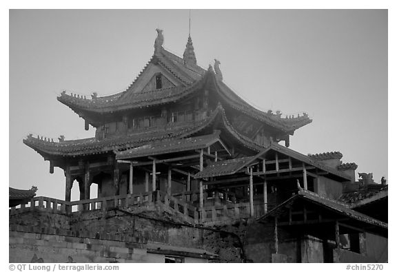 Golden Summit temple, evening. Emei Shan, Sichuan, China (black and white)