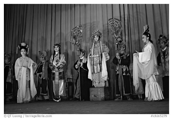 Sichuan opera scene. Chengdu, Sichuan, China (black and white)