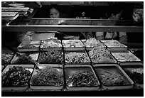 Food stall by night. Sichuan food is among China's spiciest. Chengdu, Sichuan, China ( black and white)