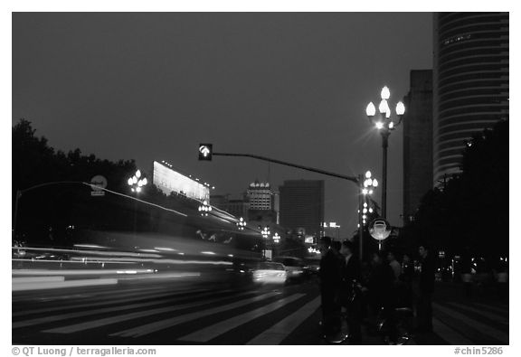 Lights of the trafic in a large avenue. Chengdu, Sichuan, China (black and white)