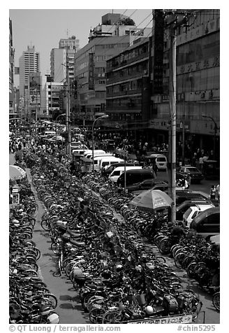Bicycle parking lot. Chengdu, Sichuan, China (black and white)