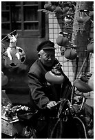 Lantern seller. Chengdu, Sichuan, China ( black and white)