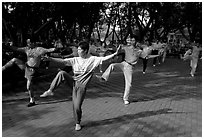Collective exercise gymnastics, Liuha Park. Guangzhou, Guangdong, China ( black and white)