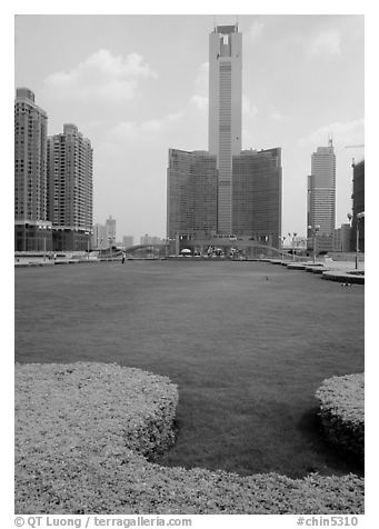Landscaped plaza and highrises near the East train station. Guangzhou, Guangdong, China (black and white)