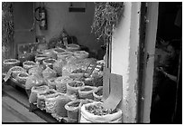 Herbs and fungus for sale in the extended Qingping market. Guangzhou, Guangdong, China (black and white)