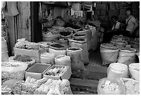 Dried foods for sale in the extended Qingping market. Guangzhou, Guangdong, China (black and white)