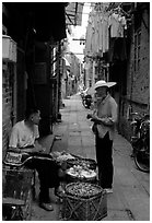 Narrow backstreet. Guangzhou, Guangdong, China ( black and white)