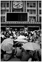 Crowds waiting outside the main train station. Guangzhou, Guangdong, China ( black and white)